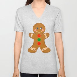 Holiday Gingerbread Man Christmas Cookie Baking Love Unisex V-Neck