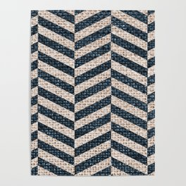 Blue Tan Textured Pattern Design Poster