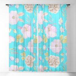 Artist hand painted pink lavender teal watercolor floral Sheer Curtain