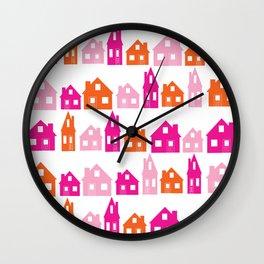 Little Village Orange Wall Clock