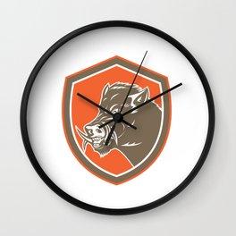 Wild Boar Razorback Head Side Shield Retro Wall Clock