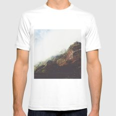 Misty Mountains White MEDIUM Mens Fitted Tee