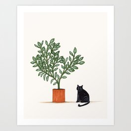 Fluffy Cat and Plant Art Print