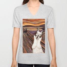 Llama The Scream Unisex V-Neck