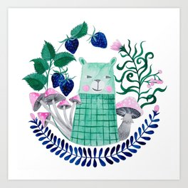 mint polar bear watercolor illustration Art Print