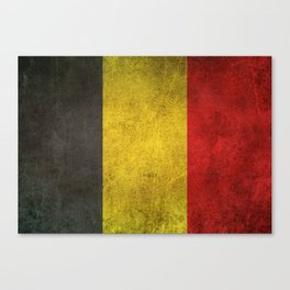 Old and Worn Distressed Vintage Flag of Belgium Canvas Print
