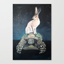 Midnight Tortoise and Hare Canvas Print