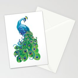 Peacock illustration Stationery Cards