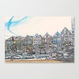 Painted Ladies houses san francisco artwork Canvas Print