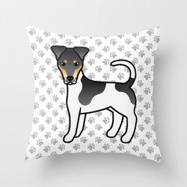Tricolor Smooth Fox Terrier Dog Cute Cartoon Illustration Throw Pillow