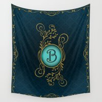 monogram Wall Tapestries featuring Monogram B by Britta Glodde