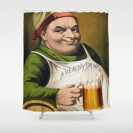 Vintage Lager Beer Advertisement Shower Curtain