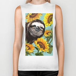 Sloth with Sunflowers Biker Tank