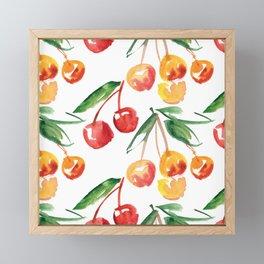 Watercolor Cherry Pattern Framed Mini Art Print