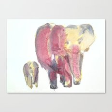Sunset Elephants Canvas Print