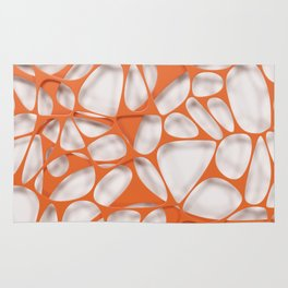 Orange on white, organic abstraction Rug