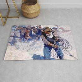 """N C Wyeth Painting """"Roping Wild Horses"""" Rug"""