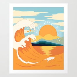 Orange wave Art Print