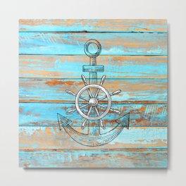 Rustic Blue Weathered Woodgrain Ship Wheel and Anchor Metal Print