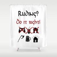 vikings Shower Curtains featuring Raiding 2, Vikings by ZsaMo Design