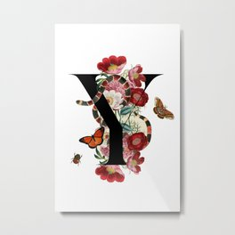 Y - Guccy Alphabet - Fashion Flowers Monogram Snakes Letters Metal Print
