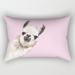 Sneaky Llama in Pink Rectangular Pillow