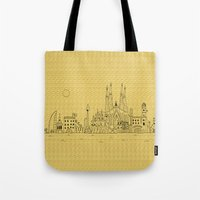 barcelona Tote Bags featuring Barcelona by Lele Gastini
