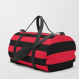 Black and Apple Red Medium Stripes Duffle Bag