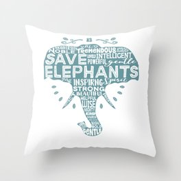 Save Elephants - Word Cloud Silhouette Throw Pillow