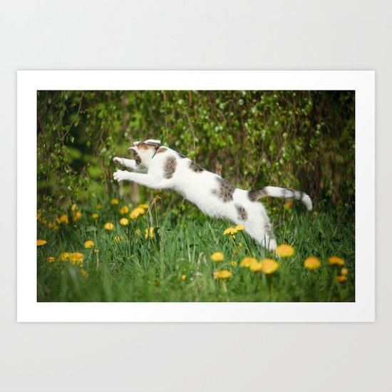 Cat, bumble-bee and dandelions Art Print