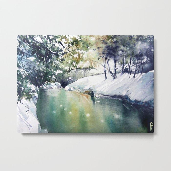 Running water down below in the dark, frozen forest Metal Print