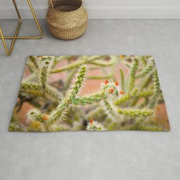 Tiny Baby Cactus With Red Flowers Rug