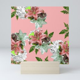 LILY PINK AND WHITE FLOWER Mini Art Print