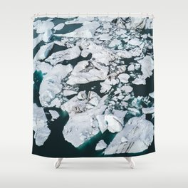Icelandic glacier icebergs from above - Landscape Photography Shower Curtain