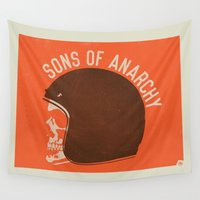 anarchy Wall Tapestries featuring Sons of Anarchy Skull Helmet by Ryder Doty