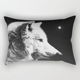 Wolf night | Wolves | Wolf pillow | Starry night | White wolf Rectangular Pillow