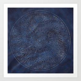 Vintage Circle of Life Mandala full color on blue swirl Distressed Art Print