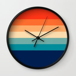 7 Colorful Retro Summer Stripes Bamola Wall Clock
