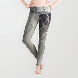 Luxury Silver and Black Herring Bone Pattern Leggings
