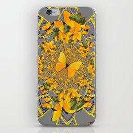 GOLDEN BUTTERFLIES & GREEN FROGS GREY MAMDALA iPhone Skin
