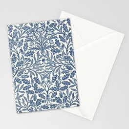 William Morris Navy Blue Botanical Pattern 2 Stationery Cards