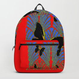 RED BLACK BUTTERFLY ART DECO PATTERNS Backpack