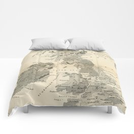 Vintage and Retro Geological Map British Isles Comforters