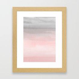 Blushing Pink & Grey Watercolor Framed Art Print