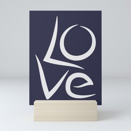 Love unique typography, word Hand lettering, Gray and Blue, Mini Art Print