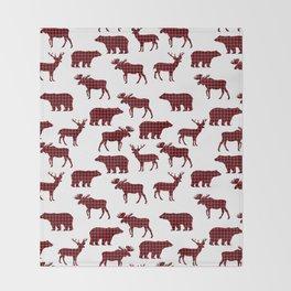 Plaid camping animals minimal bear moose deer nursery decor gender neutral woodland Throw Blanket