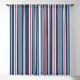Classic navy nautical mixed stripes pattern Blackout Curtain