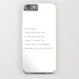 Minimalist Black Typography Quote Create, Conquer & Achieve iPhone Case