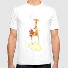 Baby in a giraffe White Mens Fitted Tee MEDIUM