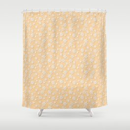 Festive Soybean Cream and White Christmas Holiday Snowflakes Shower Curtain